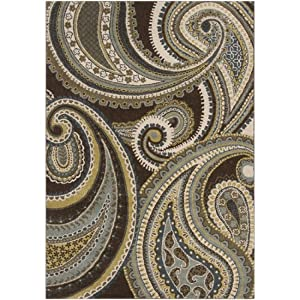 5.25' x 7.5' Paisley Swirl Moss, Coffee Bean and Slate Gray Area Throw Rug