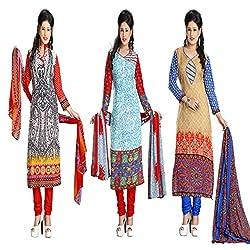 ZHot Fashion Women's Printed Un-stitched 3 Combo Dress Material In Cotton Fabric (ZH18-19-21) Multi