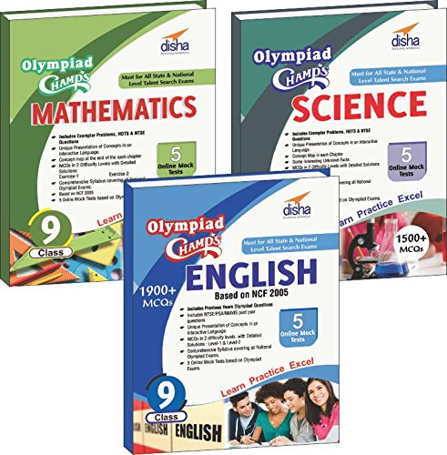 Olympiad Champs Science, Mathematics, English Class 9 with 15 Mock Online Olympiad Tests (set of 3 books)