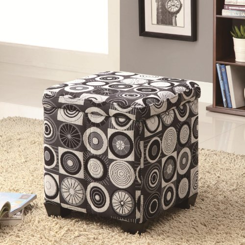 Rotundity Print Fabric Upholstered Storage Ottoman by Coaster
