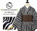 プレタ 袷 洗える着物 ナカノ ヒロミチ N-109/白×黒:縞に桜地模様 (Lサイズ)