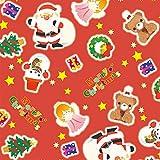 タカ印紙製品 クリスマス包装紙 サンタと仲間赤 全判 49-4045