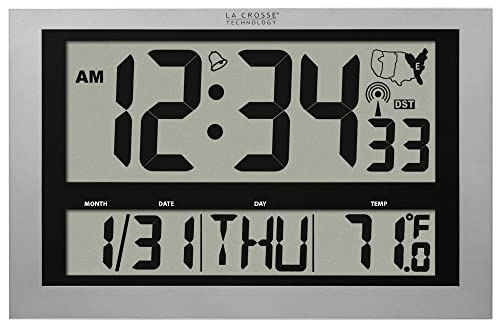 La Crosse Technology 513-1211 Atomic Wall Clock with Jumbo LCD Display with Indoor Temperature