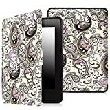 Fintie SmartShell Case for Kindle Paperwhite - The Thinnest and Lightest Leather Cover for All-New Amazon Kindle Paperwhite (Fits All versions: 2012, 2013, 2014 and 2015 New 300 PPI), Paisley Waves
