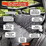Pet Seat Cover Waterproof with 2 Bonus Pet Car Seat Belts & 2 Harnesses, Hammock, Side Flaps, Seat Anchors, Non Slip Silicone, Quilted, Machine Washable for Cars, Trucks, SUVs & Vehicles - Black