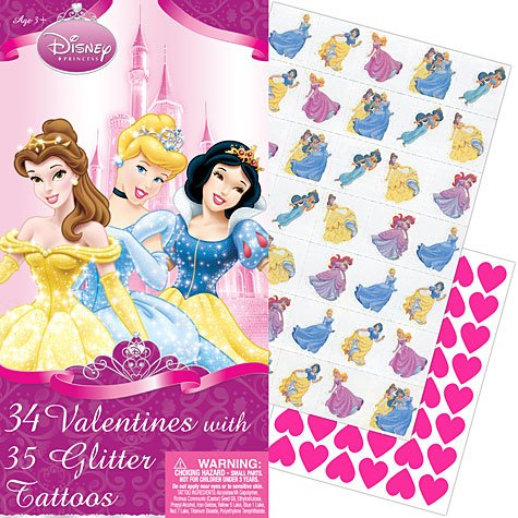 Disney Princess Deluxe Valentine's Day Cards 34ct with 35 Glitter Tattoos - 1