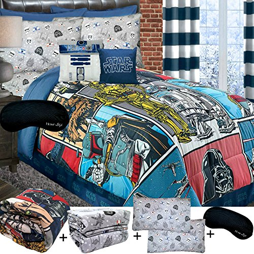 New! COTTON Star Wars QUEEN SUPERSET! Soft Comforter + 100% COTTON FLANNEL Sheets + 2 Pillowcases + Home Style Sleep Mask Bed in a Bag Bedding Bundle Teens Kids Boys Girls (Queen-Flannel) (Star Wars Quilt Queen compare prices)
