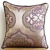 Damask Purple Galore - 18x18 inches Square Decorative Damask Silk Throw Pillow Covers in Purple, Gray and Pearl colors