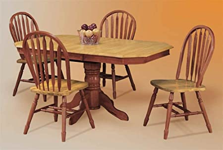 5 pc Clipped Edge Pedestal Dining Set with Arrowback Chairs