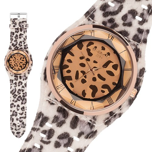 Taffstyle® Modern Frauenuhr Damen Armbanduhr Leoparden Style Damenuhr Fashion Damenarmbanduhr Analog Uhr mit Kunstleder Armband und Fell Leo Muster - Weiß