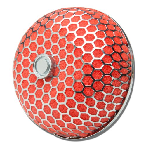 "3"" Inlet x 4"" Air Intake Mushroom Style Hexagon Mesh Air Filter (Red)"