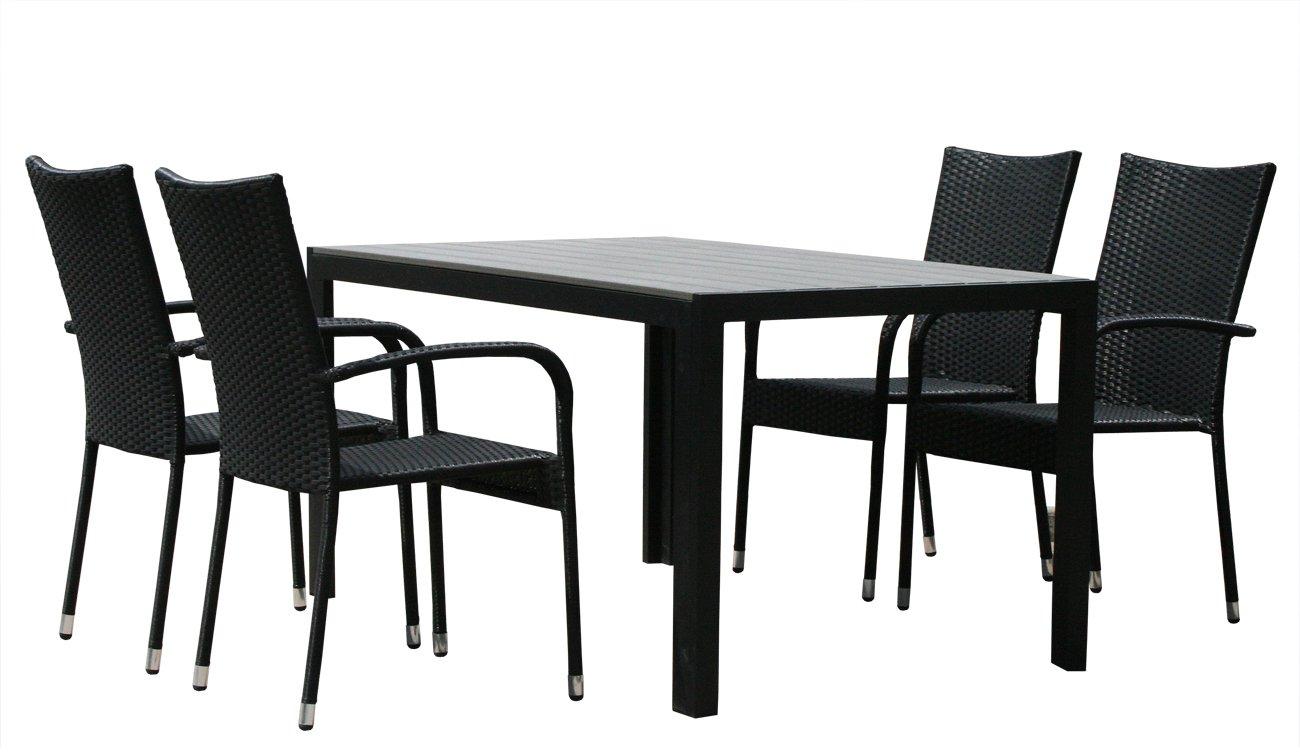 KMH®, Gartensitzgruppe aus Polyrattan (1 Tisch (150 cm) und 4 Gartenstühle) (#106201)