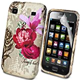 MYNC Brown Pink Silicone Gel Rubber Classic Rose Flower Case Cover For Samsung Galaxy S GT-i9000 With Free Clear Screen Protector Film Guard & Micro Fiber LCD Screen Polishing Cloth
