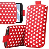ITALKonline HTC Cha Cha ChaCha Red White Polka Dots High Quality PU Leather Slim Slip Pouch Protective Sleeve Case Cover with Pull Tab