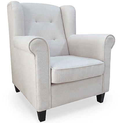menzzo hy8055tx Zeitgenössische Oxford Sessel Holz/Stoff 78x 83x 94cm beige