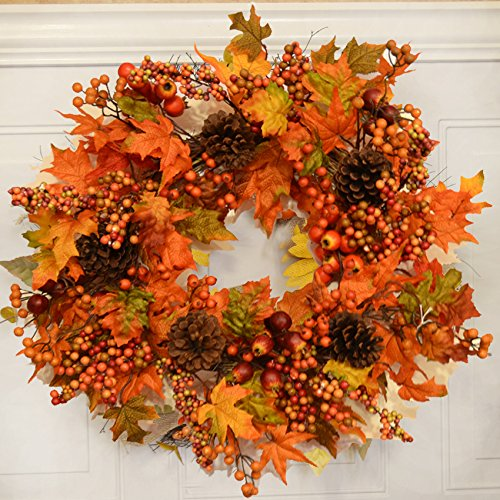 Fall Berry and Autumn Leaves Door Wreath WR4889