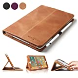 iPad Pro 9.7 Case, BoriYuan Vintage Genuine Leather Smart Cover Protective Slim Folio Flip Stand for Apple iPad Pro 9.7 Inch with Card Slot Magnetic Sleep/Wake+Stylus+Screen Protector, Brown (Color: Brown)