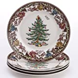 Spode Woodland Grove Christmas Tree Salad Plates, Set of 4
