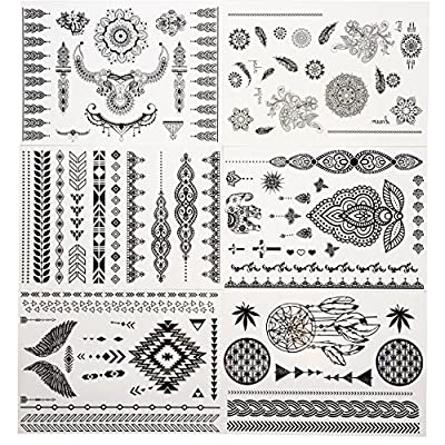 GIFT!!Tastto 6 Sheets Henna Body Paints Temporary Tattoos Black Lace Stickers for Girls and Women with GIFT