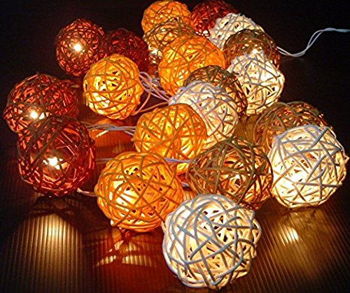 Storm Autumn Browns Rattan Cane Battery Powered Led Wooden Ball Fairy Light String 3m (9.9 Feet) Long Free Shipping (John Deere Kerosene compare prices)