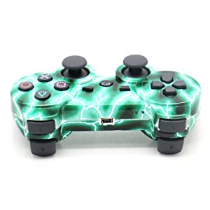 [2 Pack] Zhuoyoungs Wireless Double Vibration Game Controller Bluetooth Gamepad Remote for PS3 Playstation 3 [Gift 2 Charging-Cable] (Green (Color: Green)