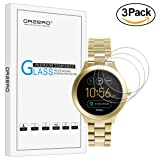 [3 Pack] Orzero For Fossil Q Venture Gen 3 Tempered Glass Screen Protector(Upgraded), 2.5D Arc Edges 9 Hardness HD Anti-Scratch Bubble-Free [Lifetime Replacement Warranty]