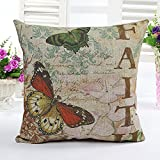 4TH Emotion Butterfly Retro Home Decor Design Throw Pillow Cover Pillow Case 18 x 18 Inch Cotton Linen for Sofa(Faith)