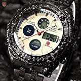 New Shark Men Digital LCD Quartz Sport Aviator Black Military Stopwatch Analog Watch