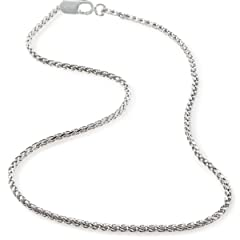 Italian Solid Sterling Silver Wheat Spiga Chain 16 18 20 22 24 or 30 Length 1.7 mm Width Thick and Luxurious Packaged in an Organza Gift Bag