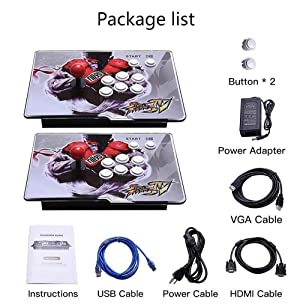 Arcade Game Console 2350 games in Pandoras 3D box, 2 Players Joysticks Arcade Machine 1920x1080 HD Output Support for TV Laptop PS4 Nintendo (Color: Street fighter)