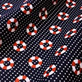 Navy Blue Polka Dot Polycotton Fabric with Nautical Life Rings (Per Metre)