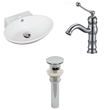 "Jade Bath JB-15470 21"" W x 15"" D Oval Vessel Set with Single Hole CUPC Faucet and Drain, White"