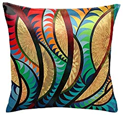 Panda Creation Colorful Designer Pillow Cover / Cushion Cover (14 x 14)