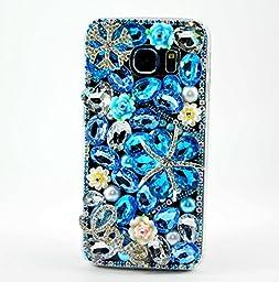 Samsung Galaxy S7 Edge Case, Sense-TE Luxurious Crystal 3D Handmade Sparkle Diamond Rhinestone Clear Cover with Retro Bowknot Anti Dust Plug - Snow Flowers LOVE / Blue