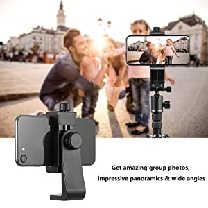 ZOMEi Phone Mount Tripod Adapter with Camera Shutter Remote Control Create Amazing Photos for iPhone iOS and Android Most Smartphones Rotate in Vertically and Horizontally Way Samsung Galaxy