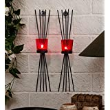 TIEDRIBBONS Decorative T-light Holder /wall Sconce Holder Pack Of 2(Black, Metal) With T-light Candle