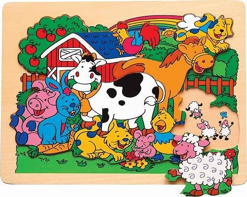 Picture of Fun Farm Animals - Jigsaw Raised Wooden Puzzle (B002P8PSNO) (Pegged Puzzles)