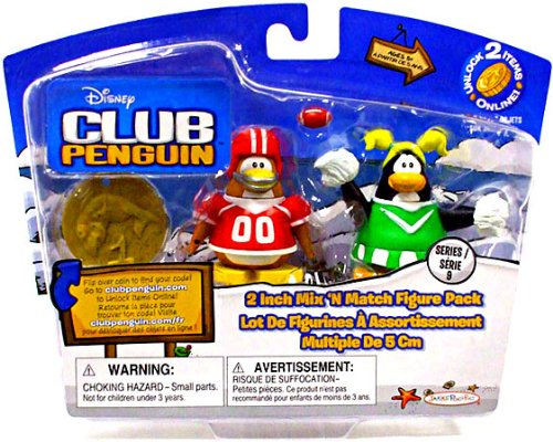 Buy Low Price Jakks Pacific Disney Club Penguin Series 9 Mix N Match Mini Figure Pack Football Player Cheerleader Includes Coin with Code! (B0043ENBGY)