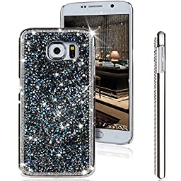Galaxy S6 Case, ikasus Luxury Shiny Sparkle Bling Glitter Handcraft Crystal [Rhinestone Diamond] Hard Plastic Plated Slim Case Cover for Samsung Galaxy S6 G920 2015 Version (Diamond: Dark Blue)