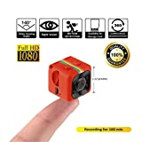 Crazepony Mini Camera SQ11 HD Camcorder 3.6mm Night Vision FOV140 1080P Sports Mini DV Video Recorder (Plastic Sheel) (Color: Red)