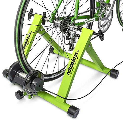 Rollentrainer Inklusive Schaltung 6 Gänge für 26-28 zoll bis 120 kg Belastbar Indoor Fahrradfahren Stahl, Grün, 10018322_53