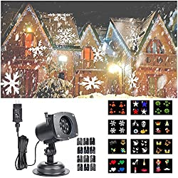 Hosyo Motion Landscape Lights Projector LED Spotlights120V Waterproof With 12pcs Switchable Pattern Lens For Christmas Holiday Home Decoration Wall Motion Decoration
