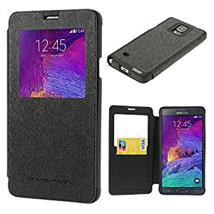 Mercury Original Black Wow Leather Flip Cover for Samsung Galaxy Note 4