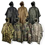 Rain Poncho JTENG® waterproof, Rip-Stop for Hunting Camping Military and use with Emergency Grommet Corners for shelter use