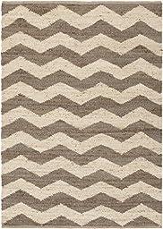 Brown Rug Striped Design 5-Foot x 7-Foot 6-Inch Jute Chevron Natural Fiber Carpet