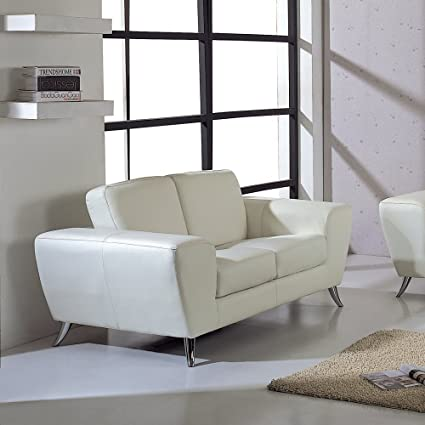 BH Design Leather Match Loveseat, White