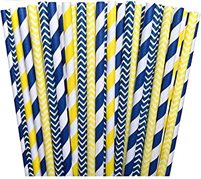 Yellow and Navy Blue Chevron and Stripe Paper Straws -Birthday Wedding or Baby Shower Party Supply 100%Biodegradable 7.75 Inches Pack of 100