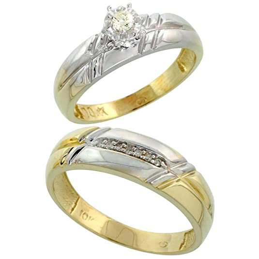 9ct Gold 2-Piece Diamond Ring Set, 5.5mm Engagement Ring & Man's 6mm Wedding Band