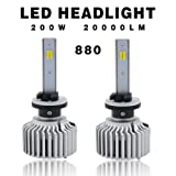 Globled 2 x 880 881 899 H27 200W 30000LM LED Headlights Bulbs with Canbus Beams 6000k White/3000k Yellow Turbo Lamp Fog Lamps (880) (Tamaño: D1-880)