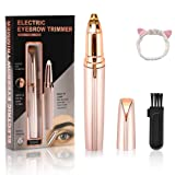 Rechargeable Eyebrow Trimmer Painless Eyebrow Hair Remover for Face Lips Facial Portable Eyebrow Razor with Light for Women (Rose Gold) (Color: Rose Gold)